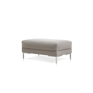 Aikon Poef 40.5X26 by Marike Andeweg | Shown in Hallingdal 123 Sparkle with polished aluminum legs.