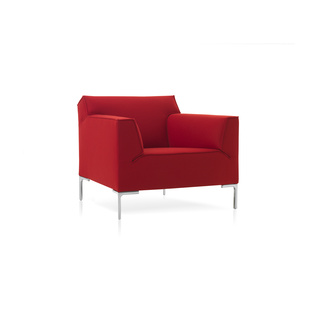 Bloq Chair by Roderick Vos | Shown in Divina 623 Kiss with polished aluminum legs.