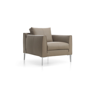Heelz Chair by Marike Andeweg | Shown in Alamo 3550 Taupe with polished aluminum legs.