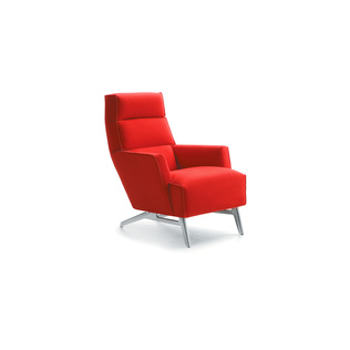 Solo by Roderick Vos | Shown in Tonus Bright Red with polished aluminum legs.