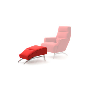 Solo Poef by Roderick Vos | Shown in Tonus Bright Red with polished aluminum legs.