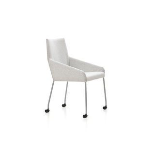 Penta with Wheels by Gijs Papavoine | Shown in Divina Melange 120 Silver with polished aluminum legs.
