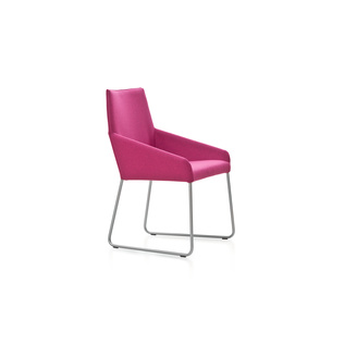 Penta with Sled by Gijs Papavoine | Shown in Divina Melange 621 Magenta with polished aluminum legs.