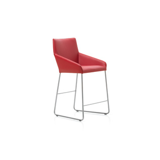 Barran 65 by Gijs Papvoine | Shown in Basque 35 Tomato with polished aluminum legs.
