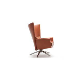 Maua by Gerard Van Den Berg | Shown in Cera 2850 Cognac with polished aluminum legs.